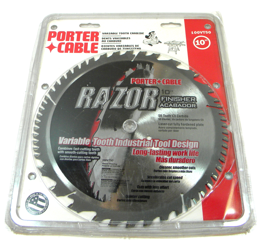 Porter cable 100vt50 razor 10 inch 50 tooth atb finishing for 10 inch table saw blades